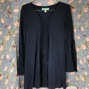 Aina be navy blue floral lace tunic dress Sz s